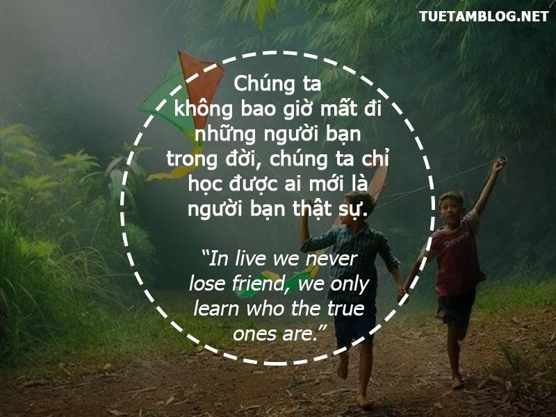 Chúng ta không bao giờ mất đi những người bạn trong đời, chúng ta chỉ học được ai mới là người bạn thật sự.