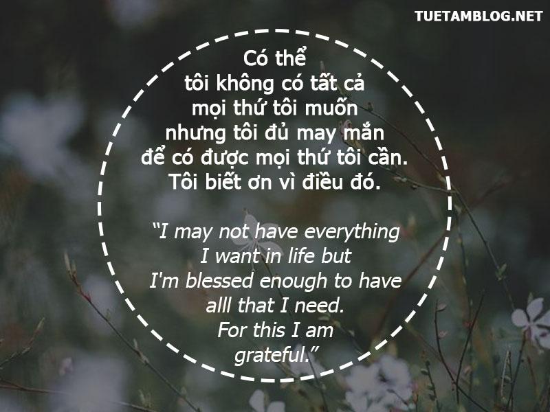 Có thể tôi không có tất cả mọi thứ tôi muốn nhưng tôi đủ may mắn để có được mọi thứ tôi cần. Tôi biết ơn vì điều đó.