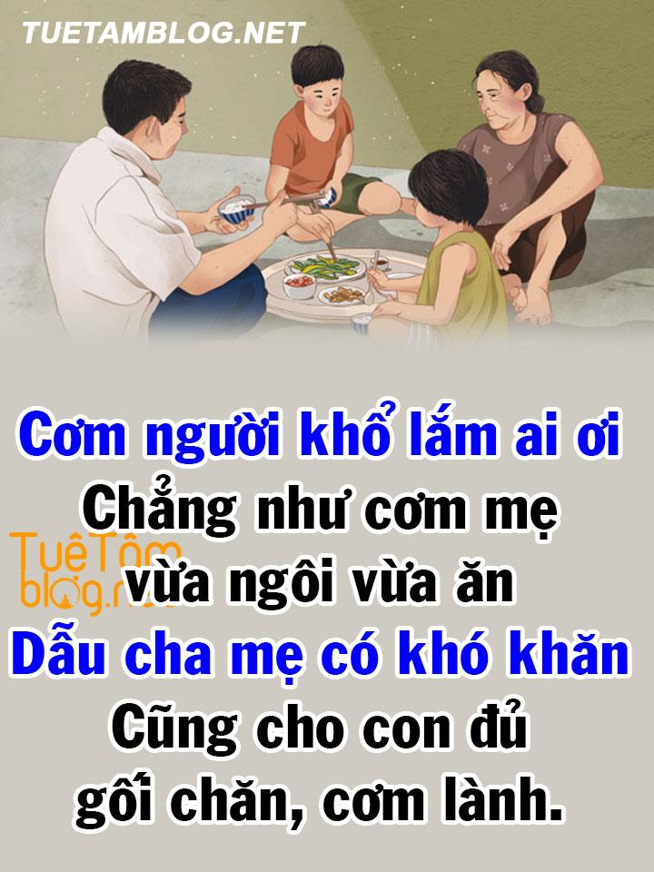 Cơm người khổ lắm ai ơi chẳng như cơm mẹ vừa ngôi vừa ăn, dẫu cha mẹ có khó khăn cũng cho con đủ gối chăn, cơm lành.